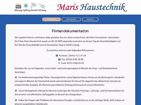 Screenshot responsive Website Maris Haustechnik