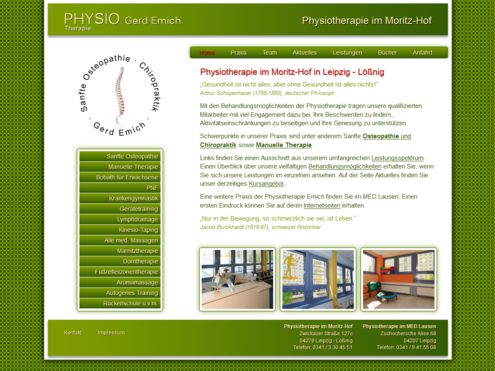 Screenshot Website Physiotherapie Emich im Moritzhof