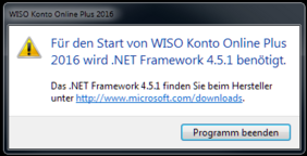 Fehlermeldung beim Start WISO Online Banking 2016 ohne .net