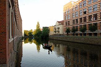 Gondoliere auf dem Karl-Heine-Kanal