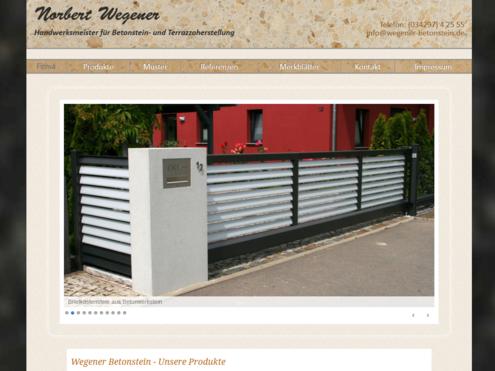 Screenshot responsive Website Wegener Betonstein