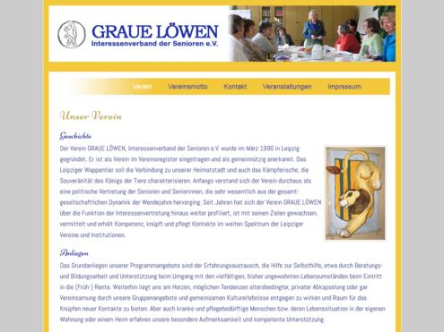 Screenshot Website Graue Löwen Leipzig