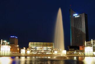 Augustusplatz Leipzig, abends