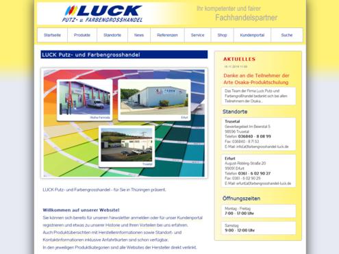 Screenshot Website Luck Putz-und Farbengrosshandel